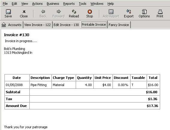GNU Cash Invoice
