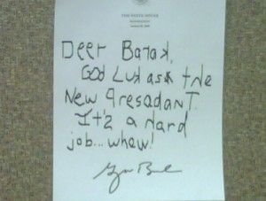 Memo from Bush to Obma